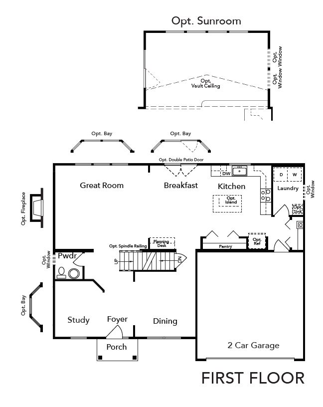 First Floor plan and optional sunroom.