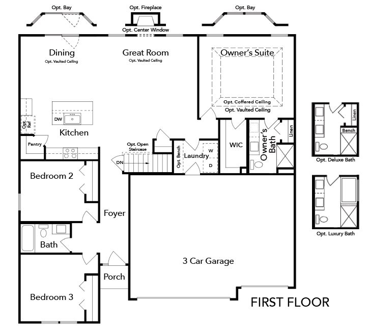 Westbrook first floor blueprint of floor plan.