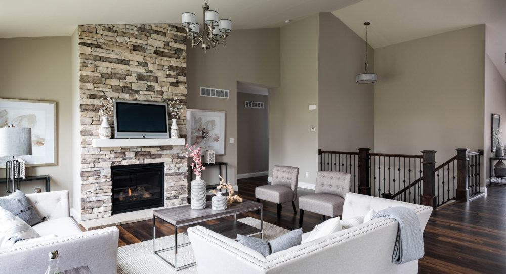 Gathering Room with Stone Fireplace