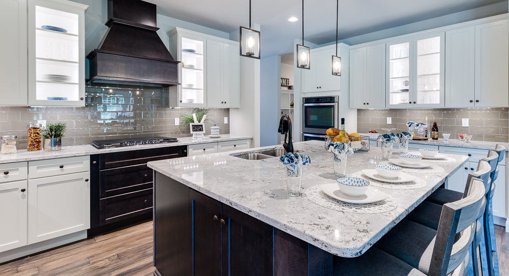 Kitchen with extensive island