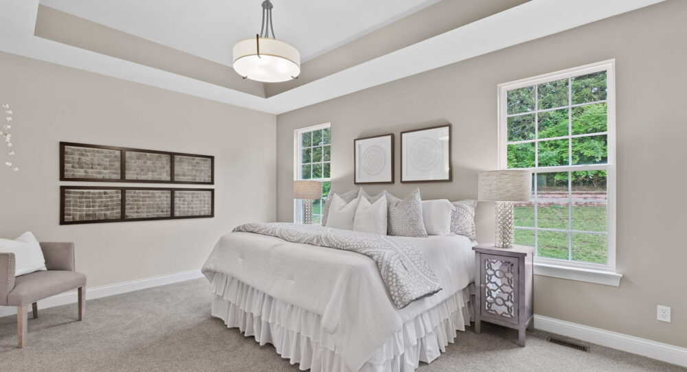 Master bedroom in a new home from Rolwes Co.