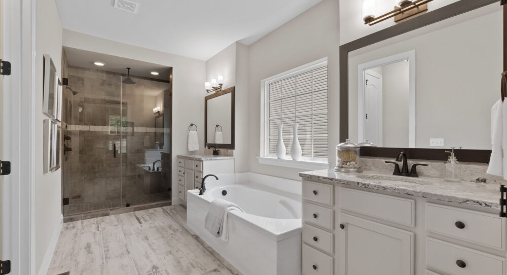 Master bathroom inside a new home from Rolwes Co.