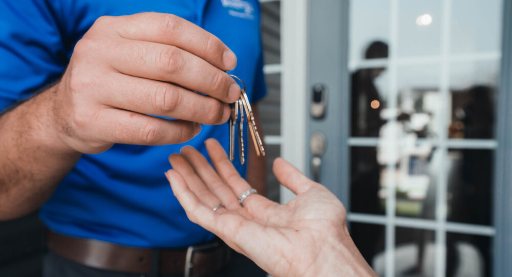 Getting new keys to a home from Rolwes Co.