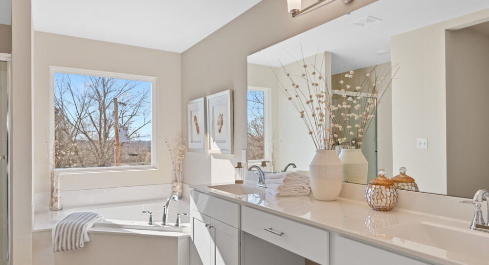Master bathroom in a new home with a double sink vanity.