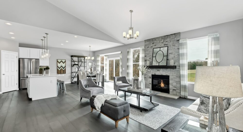 Furnished gathering room with a fireplace in the Westbrook.